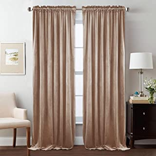 StangH Luxury Velvet Curtains 84 inch Length - Skin-Smooth Feeling Velvet Drapes Room Darkening Privacy Enhancing for Daughters Room/Apartment, Blush Beige, Wide 52 x Long 84 Inches, 2 Panels