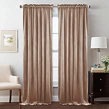 StangH Elegant Super Soft Velvet Curtains - 108 Inches Long Privacy Velvet Drapes Light Blocking Panels for Office/Dinning Room, Blush Beige, 52 x 108 inches, 2 Panels