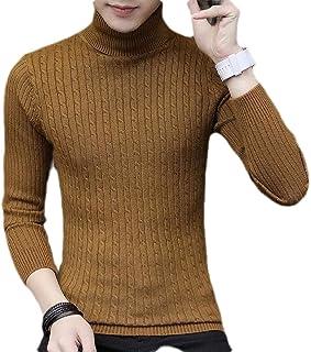 Macondoo Men Cable Knit Winter Casual Turtleneck Jumper Plain Sweater