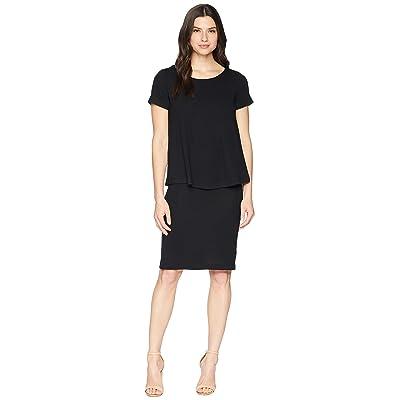 Nally & Millie Short Sleeve Overlay Dress (Black) Women