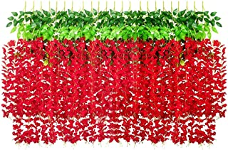Lmeison 24 Pack 86.6 Feet Artificial Wisteria Vine, Fake Ratta Hanging Garland Flowers String for Home Party Wedding Decor...