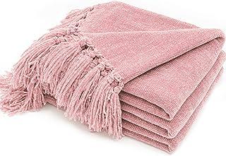 Gosig filt med fransar 152 x 203 cm, chenille stickad filt soffa filt filt varm mjuk för säng soffa soffa stol (rosa)