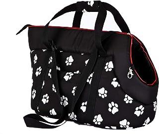 Svart transportväska för katt med vita tassavtryck.