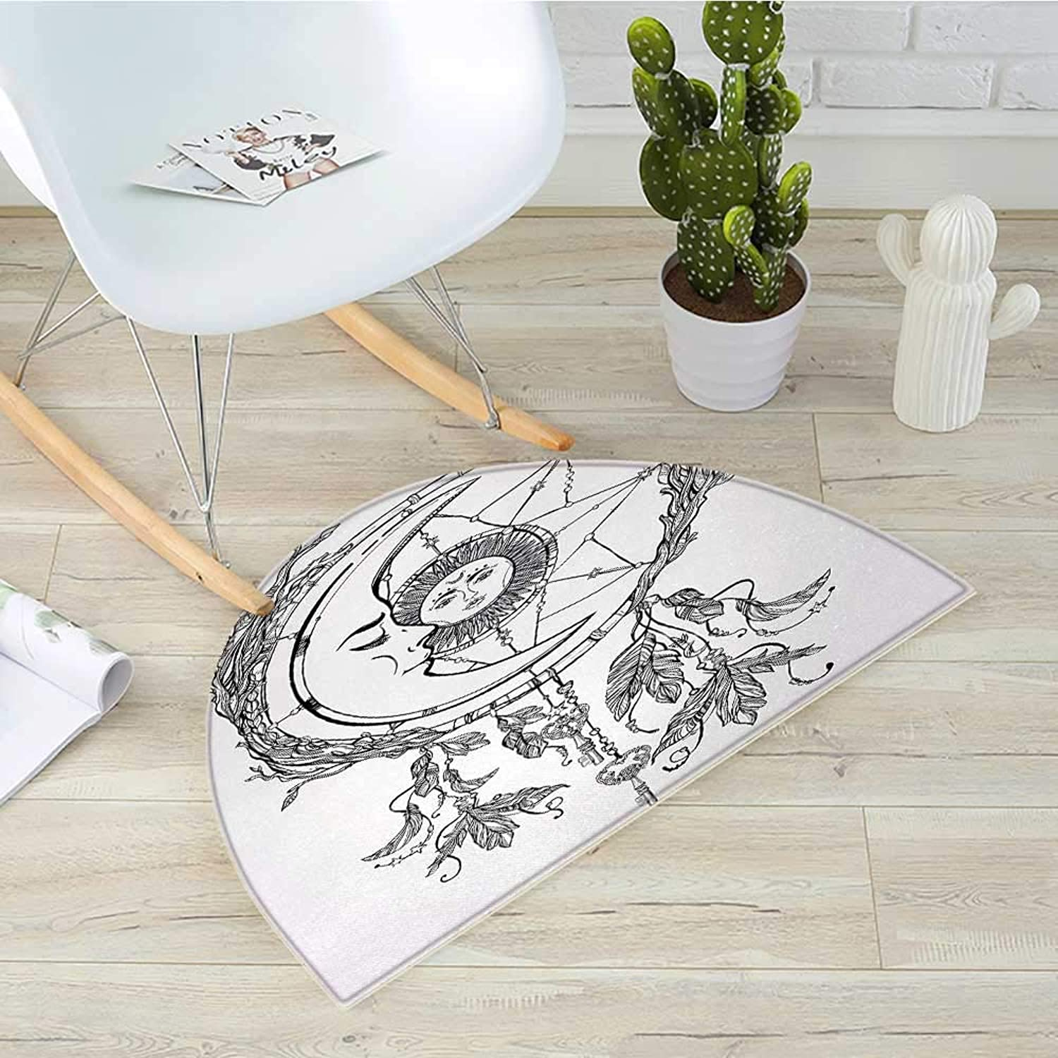 Mystic Half Round Door mats Tribal Ethnic Dreamcatcher Feathers with Sun and Moon Inside Cosmos Artsy Image Bathroom Mat H 39.3  xD 59  Black White