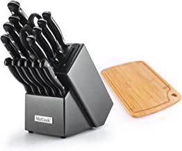 McCook MC36 16 Pieces FDA Certified Forged Triple Rivet Knife Set in Hard Wood Block with Built-in Sharpener Plus Bonus Bamboo Cutting Board, Graphite