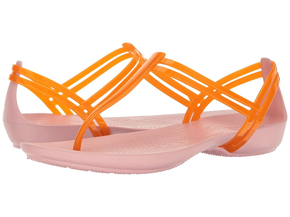 Crocs Isabella T-Strap (Active Orange/Petal Pink) Women