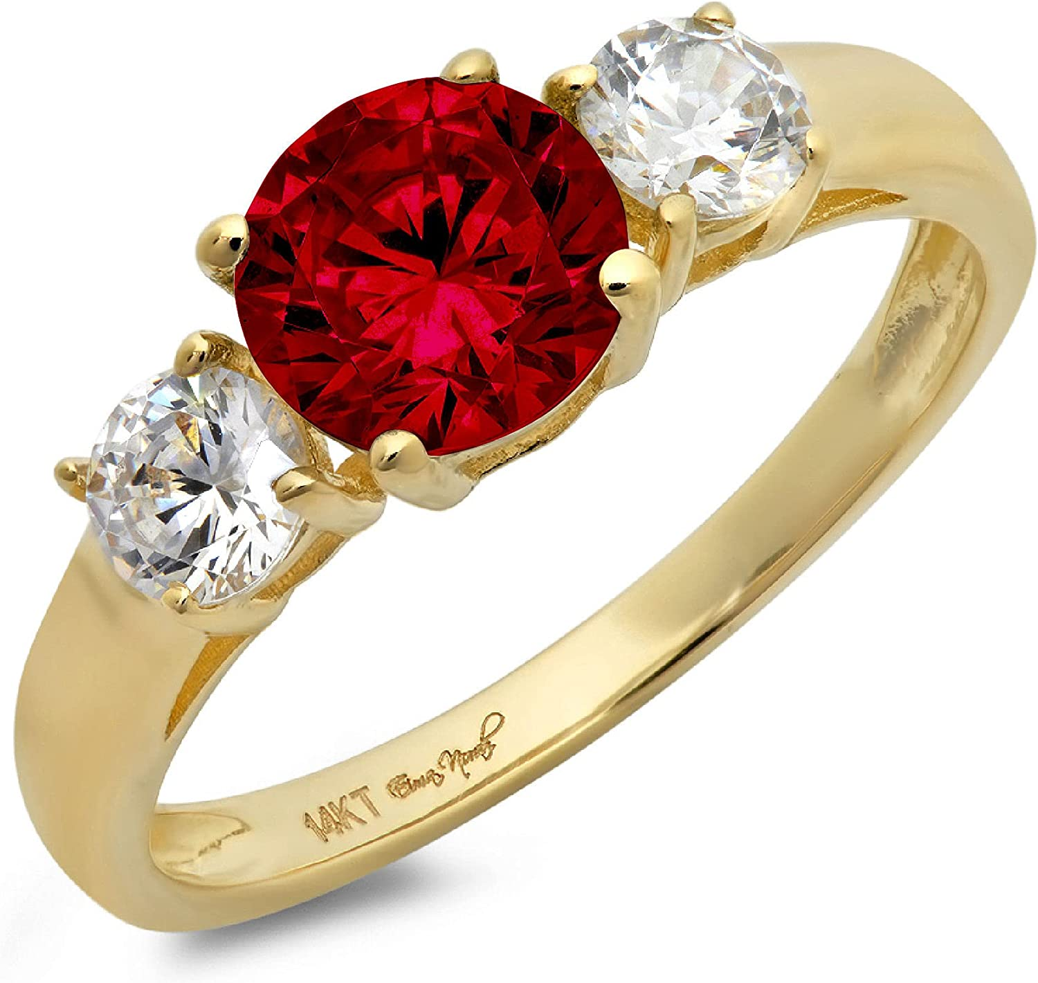 1.50ct Brilliant Round Cut Solitaire 3 stone Genuine Flawless Natural Red Garnet Gemstone Engagement Promise Statement Anniversary Bridal Wedding Ring Solid 18K Yellow Gold