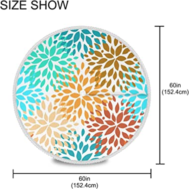 Blueangle 60 Inch Outdoor Waterproof Summer Flower Pattern Round Tablecloth with Umbrella Hole for Camping, Patio, Picnic, Sp