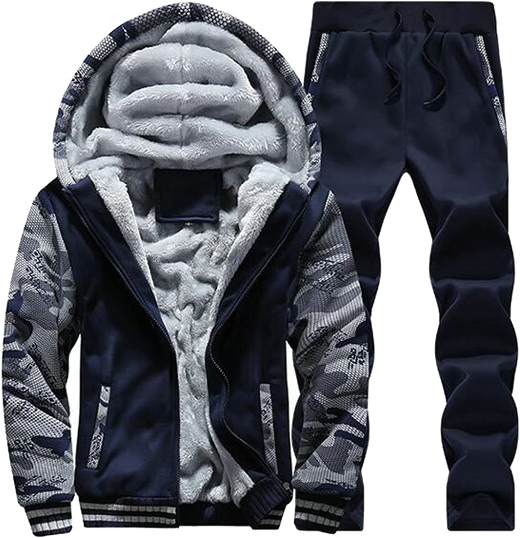 CBTLVSN Mens Fleece Lined Warm Hooded Sweatshirt Jacket and Sweatpant Tracksuit