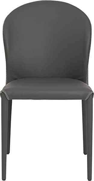 Euro Style Elaine Leatherette With X Stitching Side Dining Chair Set Of 4 Gray