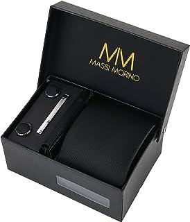 ربطة عنق للرجال من ماسي مورينو، ربطة عنق مع ازرار واكمام ومنديل ومشبك، ربطة عنق تصلح كهدية لحفل زفاف مع اكسسوارات للرجال