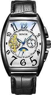 Mens Automatic Business Dress Tonneau Shaped Moon Phase Wrist Watch Mechanical Self Wind