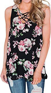 VESKRE Women's Mother's day Flowers Floral Print Tank Tops Plus Size Summer Sleeveless Vest