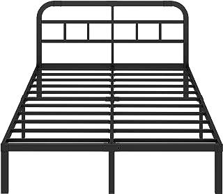 ZIYOO 14 inch Steel Slat Platform Bed Frame with Headboard,3000lbs Heavy Duty, Non-Slip Design, Strengthen Support Mattress Foundation, Quiet Noise Free, Cal King