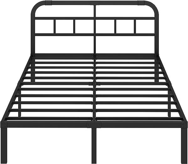 ZIYOO 14 英寸钢板条平台床架带床头板 3000lbs 重型防滑设计加强支撑床垫基础安静无噪音 Cal King