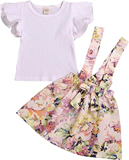 YOUNGER TREE Toddler Baby Girl Skirt Sets Fly Sleeve Cotton T-Shirt + Floral Strap Suspender Dress Summer Outfits 6M-4T