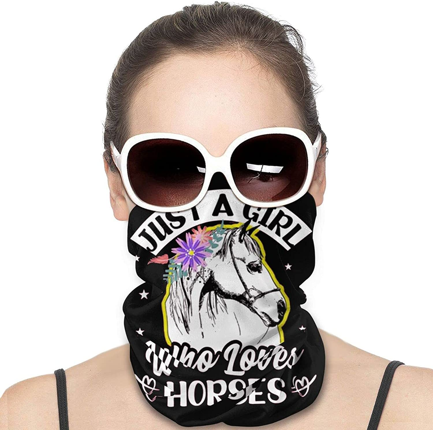 Just A Girl Who Loves Horses Round Neck Gaiter Bandnas Face Cover Uv Protection Prevent bask in Ice Scarf Headbands Perfect for Motorcycle Cycling Running Festival Raves Outdoors