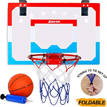 XGEAR Foldable Mini Basketball Hoop - Pro Style Steel Durable Rim - Over-The-Door Shatterproof Backboard(18'' x 12'') - with Ball and Pump - for Kids Adults Indoor Play