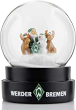 Werder Bremen SV Schneekugel  Weihnachtsmann mit Rentieren und Schneemann