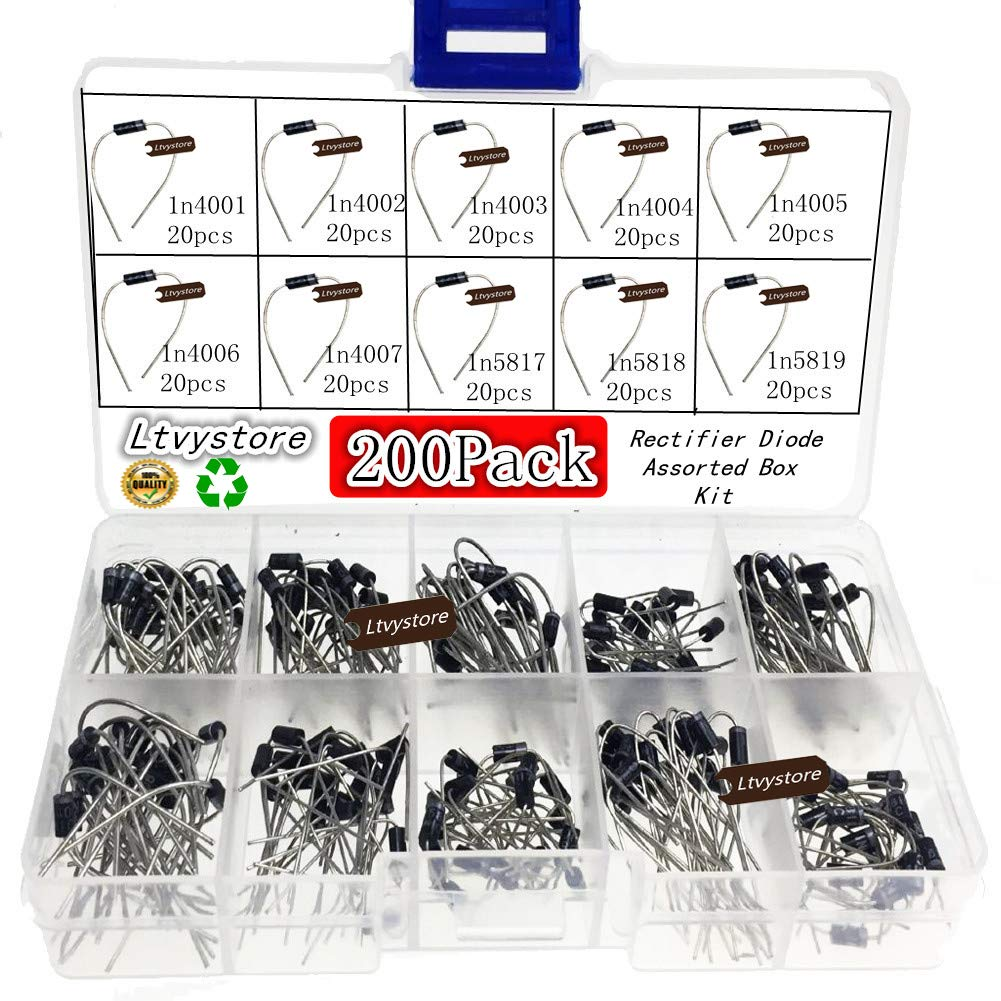 Ltvystore Sacramento Today's only Mall 200PCS 10Value 1N4001~1N5819 Assorted Diode Assortme