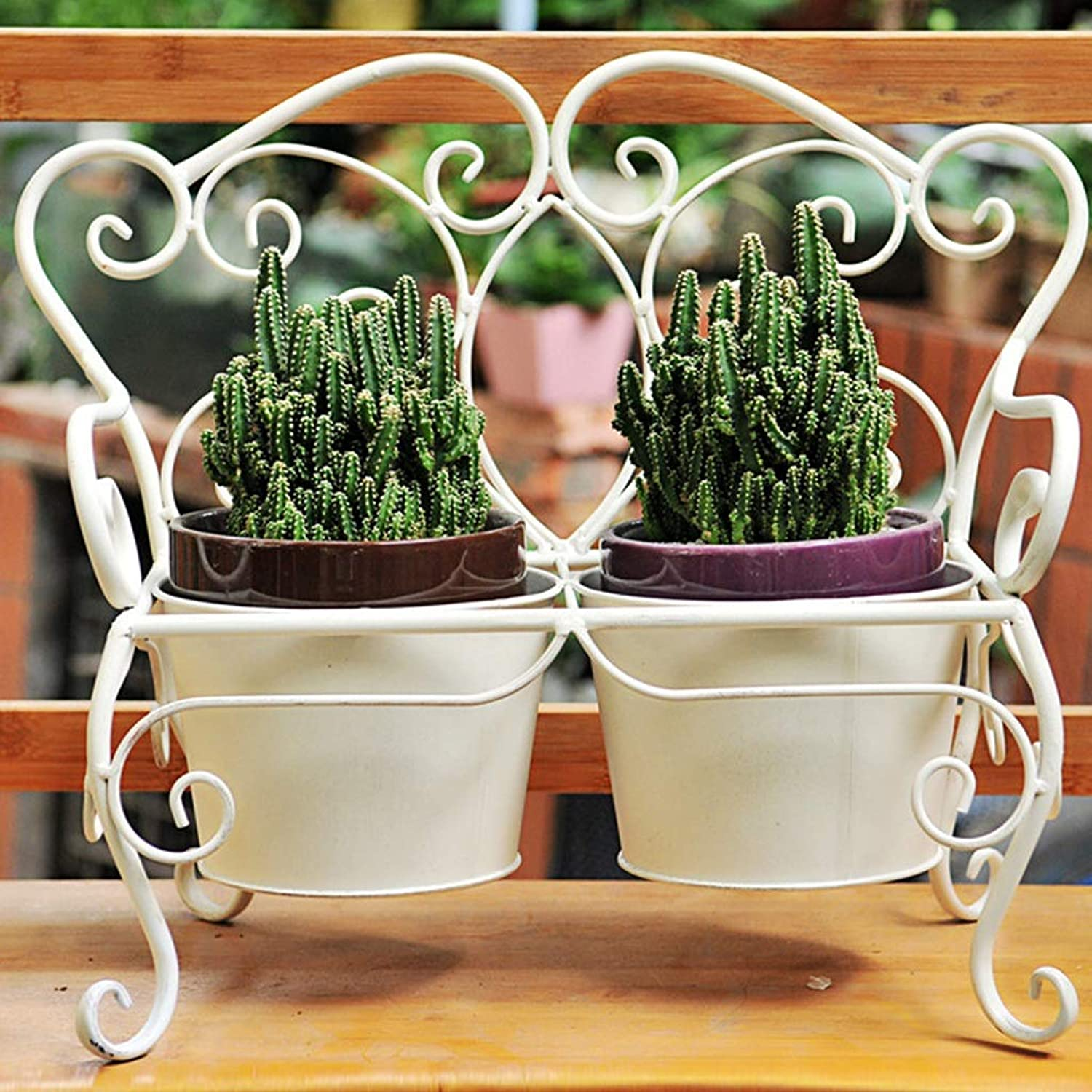 MXD Flower Stand American Retro Flower Pot Iron Flower Stand Plant Flower Home Decoration Flower Pot Stand White