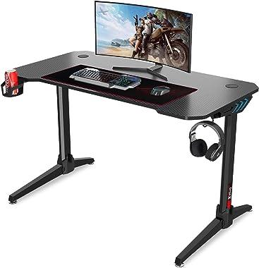 Dripex Gaming Tisch 113 cm Gaming Schreibtisch Gaming Computertisch PC Schreibtisch Gamer mit Getränkehalter und Kopfhörerhal