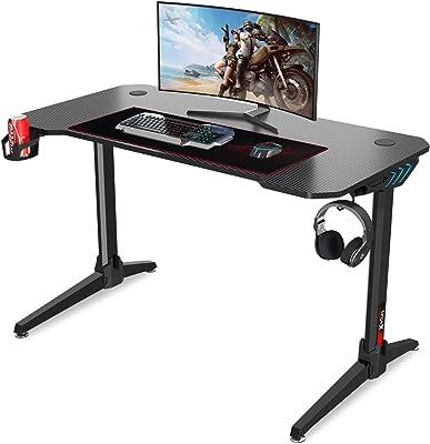Dripex Gaming Tisch 113 cm Gaming Schreibtisch Gaming Computertisch PC Schreibtisch Gamer mit Getränkehalter und Kopfhörerhalter Schwarz