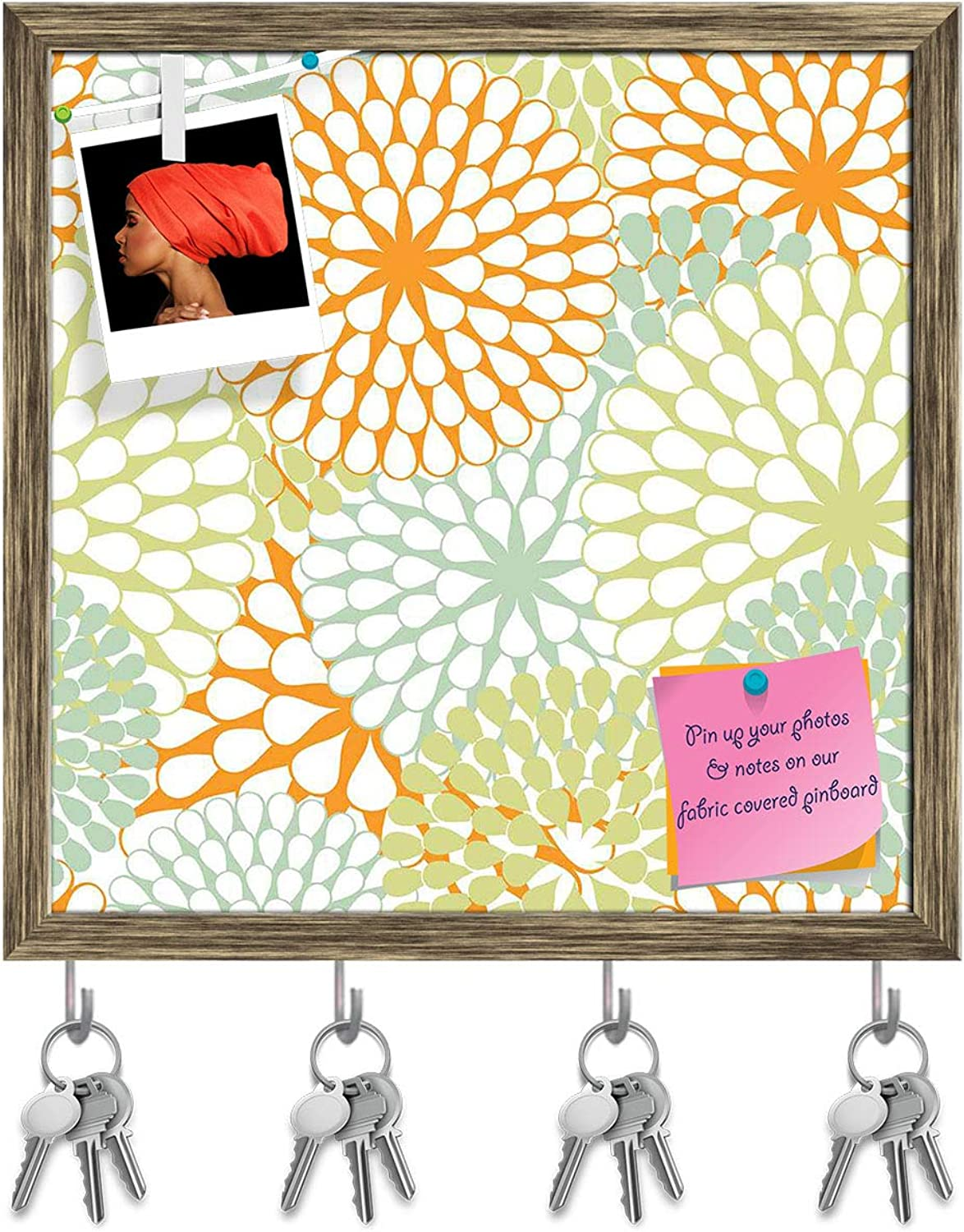Artzfolio Floral Texture Key Holder Hooks   Notice Pin Board   Antique golden Frame 20 X 20Inch