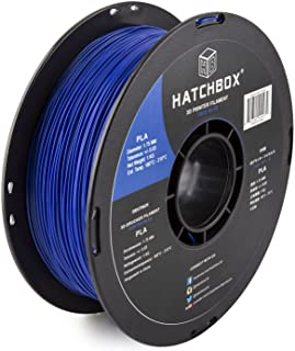 HATCHBOX PLA 3D Printer Filament, Dimensional Accuracy +/- 0.03 mm, 1 kg Spool, 1.75 mm, Blue