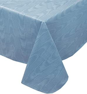 Blue Moire Wavy Solid Color Print Heavy Gauge Vinyl Flannel Backed Tablecloth, Indoor/Outdoor Tablecloth, (60 Inch x 84 Inch Oblong/Rectangle)