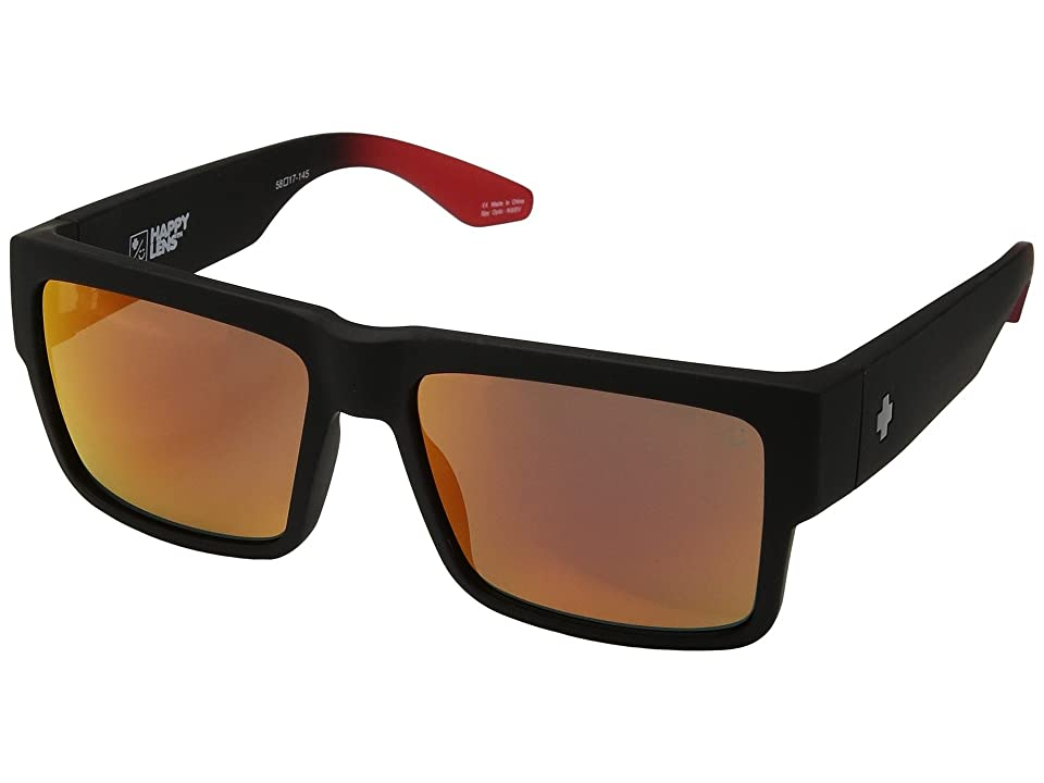 Spy Optic Cyrus (Cyrus Soft Matte Black/Red Fade/Happy Gray/Green/Red Flash) Sport Sunglasses