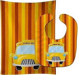 Caroline's Treasures Back to School Bus Baby Bib & Burp Cloth, Multicolor, Large