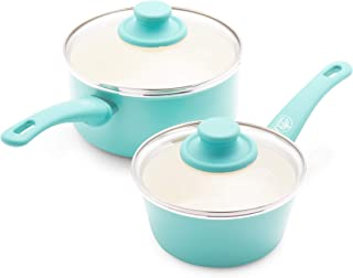 GreenLife Soft Grip Healthy Ceramic Nonstick, Saucepans with Lids, 1QT and 2QT, Turquoise