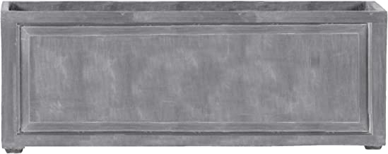 Amedeo Design 2514-18G ResinStone Recessed Panel Rectangular Planter, 48 by 24 by 24-Inch, Lead Gray