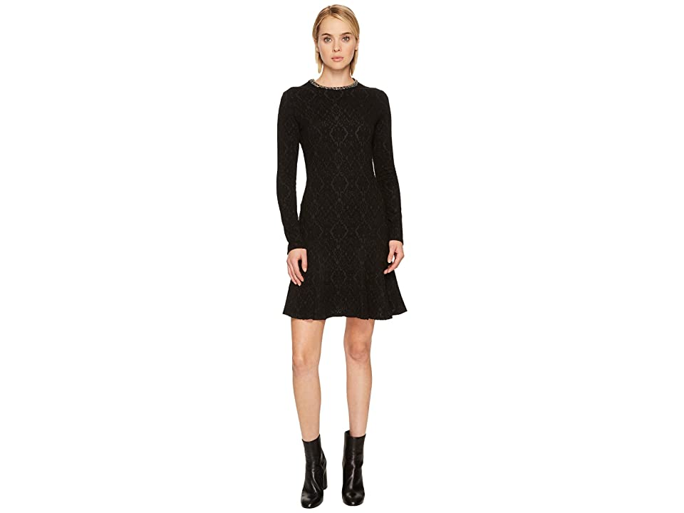 The Kooples Flowing Dress with Jewelled Collar (Black) Women