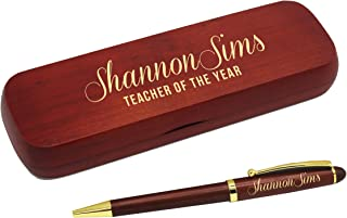 Custom Engraved Ballpoint Pen with Personalized Case - Wood Pen Set for Lawyers, Doctors, Teachers, Graduates, Students (Rosewood)