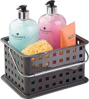 InterDesign Basic corbeille rangement, petit panier salle de bain en plastique pour accessoires de douche et soins, gris a...