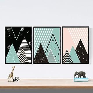Nacnic Pack de 3 Photos à encadrer Montagnes GÉOMÉTRIQUES. Nordic, Style scandinave. Décoration d'intérieur. Affiches impr...