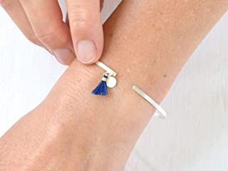 renna deluxe Armspange Armreif SILBER dünn Boho Stil mit niedlicher Tassel Blau und silbernem Anhänger minimalistisch   Ha...
