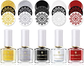 BORN PRETTY Nail Stamping Polish Nail Art Barniz DIY Sello Laca de impresión White Night Stamping Series Polish 6ml 5 Bote...