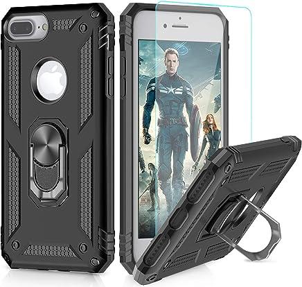 LeYi Funda iPhone 6 / 6S / 7/8 Armor Carcasa con 360 Anillo iman Soporte Hard PC y Silicona TPU Bumper antigolpes Fundas Carcasas Case para movil iPhone 7/8 con HD Protector de Pantalla,Negro