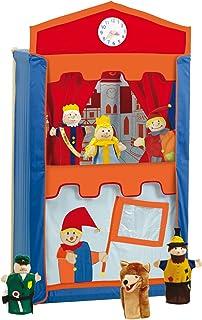 Teatro de títeres de madera maciza con 6 marionetas; 120cm