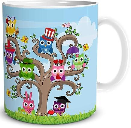 Preisvergleich für TRIOSK Geschenk Tasse Eule mit Eulenmotiv Bunte lustige Spaßvögel auf Eulen Baum
