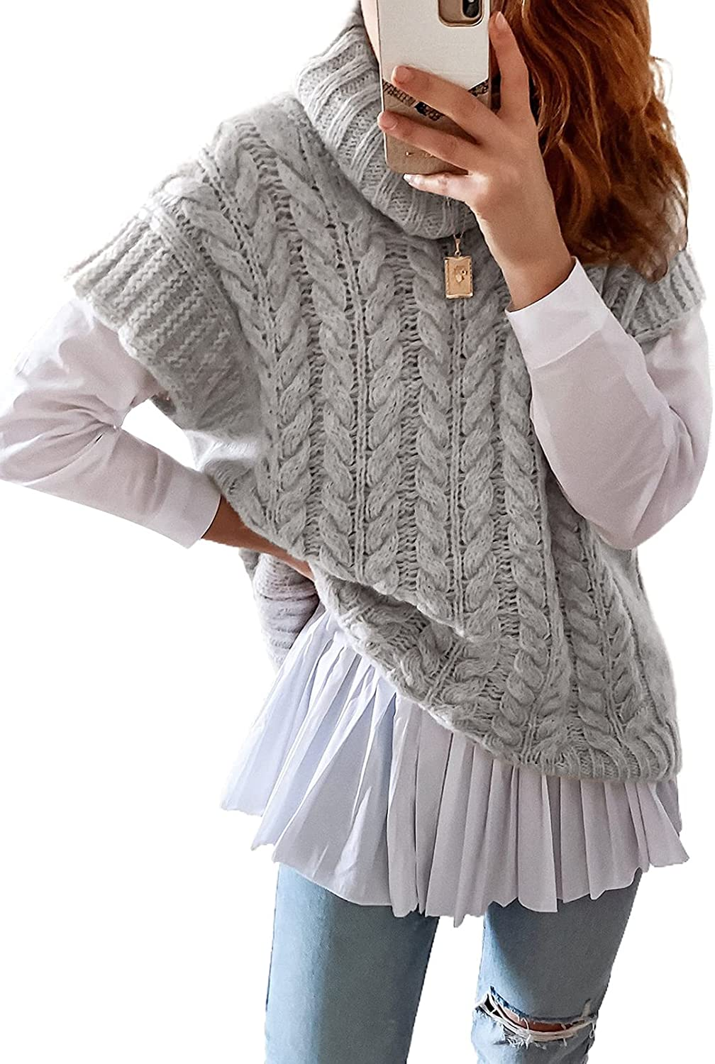 Astylish Womens Sweater Vest Knit Sleeveless Turtle Neck Pullover Tank Top