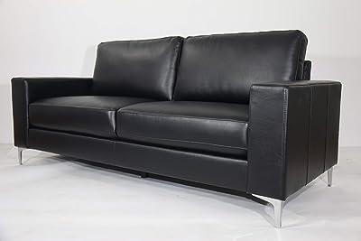 Danube Home Sancho 3 Seater Leather Sofa - Black