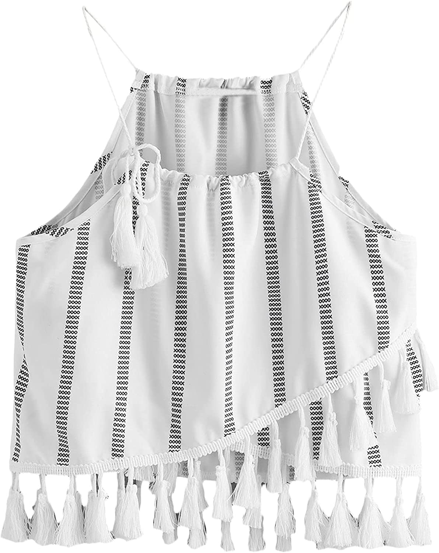 Floerns Women's Casual Boho Striped Fringe Trim Cami Crop Tops