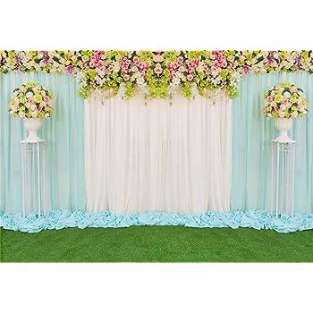Leowefowa Romantic Fresh Flowers Wall Wedding Stage Vinyl 12x8ft Photography Background Wedding Ceremony Backdrops Bride Groom Portrait Shoot Bridal Shower Wedding Photo Booth Event Activities Props