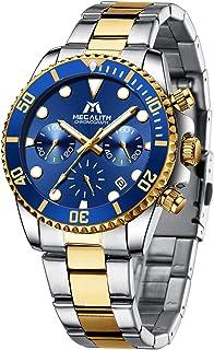 MEGALITH ® Luxury Mens Watch Stainless Steel Chronograph Waterproof Quartz Watch Men Designer Wrist Watch Date Fashion Bus...