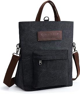 KALIDI Canvas Damen Umhängetasche Rucksack 2 in 1 Groß Crossbody Tasche Handtasche Damen Mehrzweck Schultertasche Hobo Tas...
