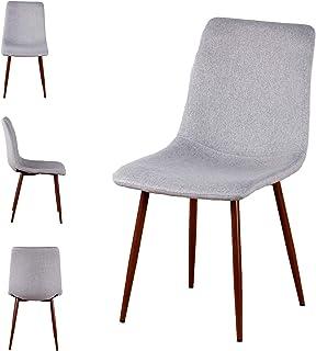N/A Sillas de Comedor Juego de 4 sillas de Cocina Modernas con Respaldo de cojín de Tela Asientos de Sala de Estar de Mediados de Siglo con Patas de Metal para Cocina Comedor (Gris)